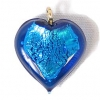 Glass Lamp Pendant Heart 13mm Capri Blue/Silver